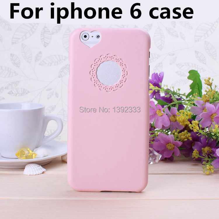 For the new iphone 6 CaseNEW 2014 Cute candy Color Loving Heart Flower Lace Hard Phone Case Cover For iPhone 6 4.7 Dropshipping