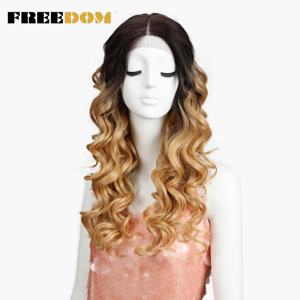 FREEDOM Synthetic Lace Front Wigs For Black Women Deep Loose Ombre Brown Blond 24 Inch High