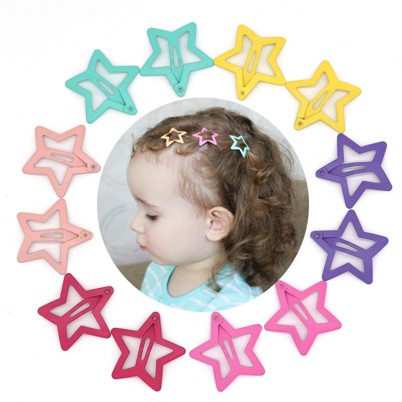 12PCS Girls Star Hair Clips For Hair Clip Pins BB Hairpins Color Metal Barrettes For Baby Children Girls Styling Accessories