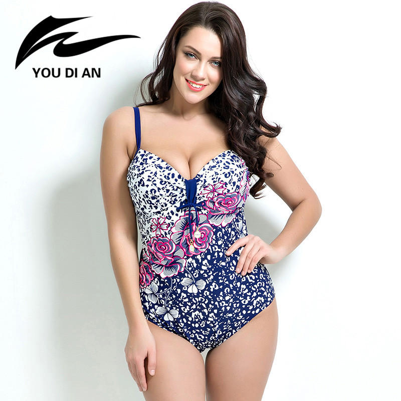 ФОТО 2017 Spring Summer New Sexy Push Up Bathing Suit Women's Swimwear Floral Print Plus Size Swimsuit One-Piece Beach Wear 7XL
