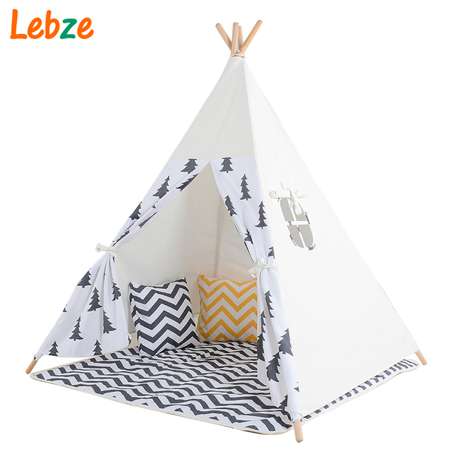 Black Tree Printed Children Teepee Four Poles Kids Play Tent Cotton Canvas Tipi For Baby House Ins Hot