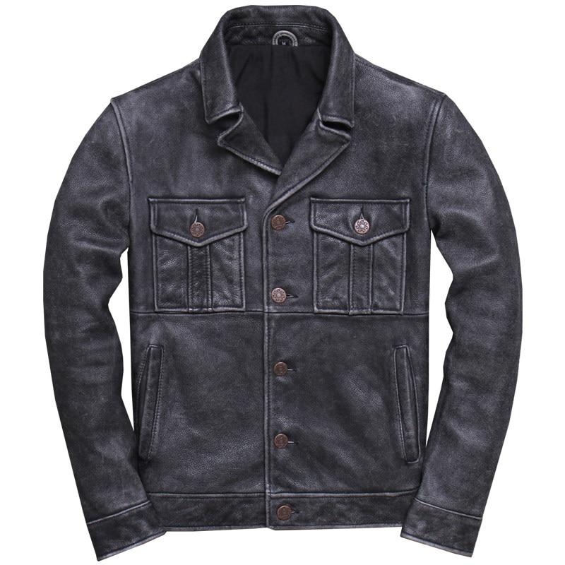 Jacket Vintage Genuine-Cowhide-Spring XXXL Short American Grey Casual Coat Natural Plus-Size