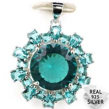 Guaranteed Real 925 Solid Sterling Silver 4.3g Ravishing Rich Blue Aquamarine Womans Pendant 30x23mm