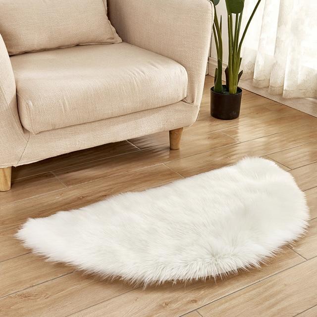 Semicircular Tapete de pele de Carneiro Artificial Macio Tampa Da Cadeira Assento Tapete Do Quarto Tapete de Lã Artificial Quente Cabeludo Textil Área Tapetes De Pele