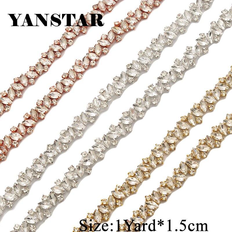 YANSTAR Wholesale Rhinestone Applique By The 10 Yards Trim For Wedding  Dress Belt Thin Crystal Appliques 5a022dd66c77