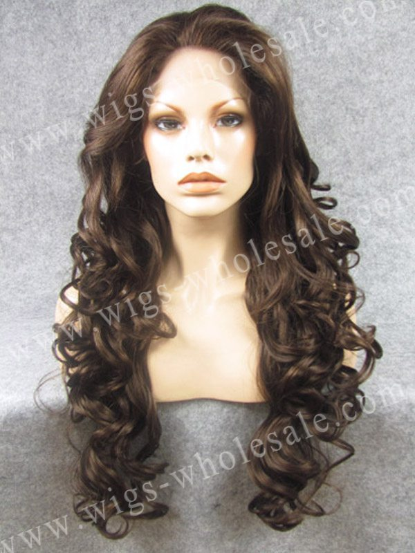 ФОТО synthetic lace front wig  long curly wavy  brown  lace front wig free shipping