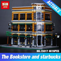 2016 New LEPIN 15017 4616Pcs Creator Starbucks Bookstore Cafe Model Building Kits Minifigure Blocks Bricks Legeo