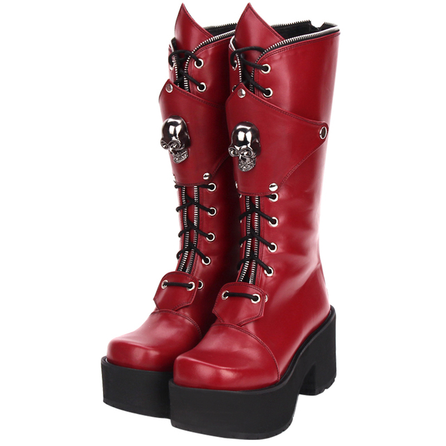 Fashion Winter Women High Heels Platform Lolita Boots Zipper Skull Punk Muffin Shoes Female Large Size Gothic High Boots