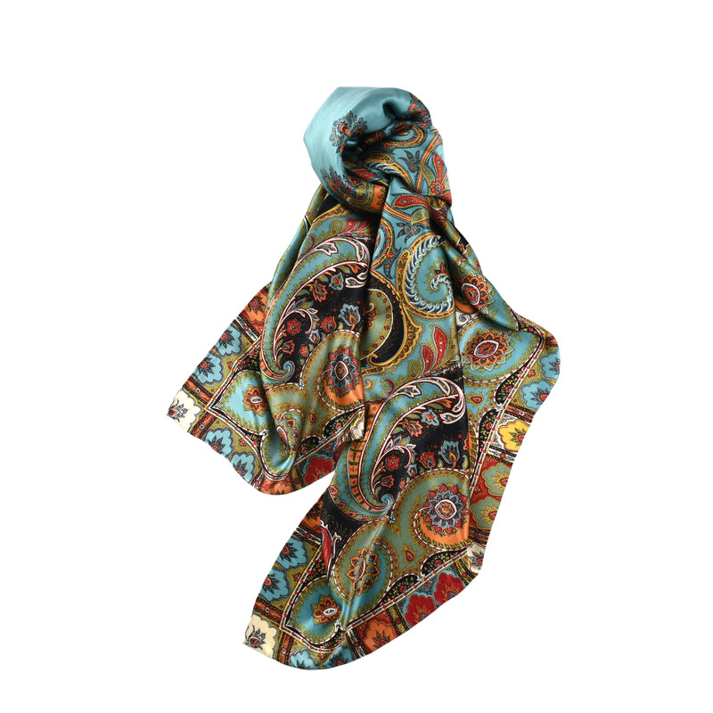 Image 4 - Thicken Paisley Prints 100% Silk Scarf Wraps Women's Luxury Large Square Silk Shawl Foulard 140x140cm-in Women's Scarves from Apparel Accessories