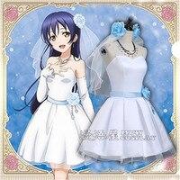 Anime Love Live Kousaka Honoka de demoiselle d'honneur Cosplay Costume robe + ceinture + bandoulière + chapeaux + voile + collier + boucles d'oreilles + gants