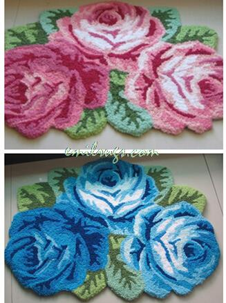 2014 Rushed Tapete Rose Carpets Three Garden Roses Decorative Rugs Bed Mats New House Doormat Chair