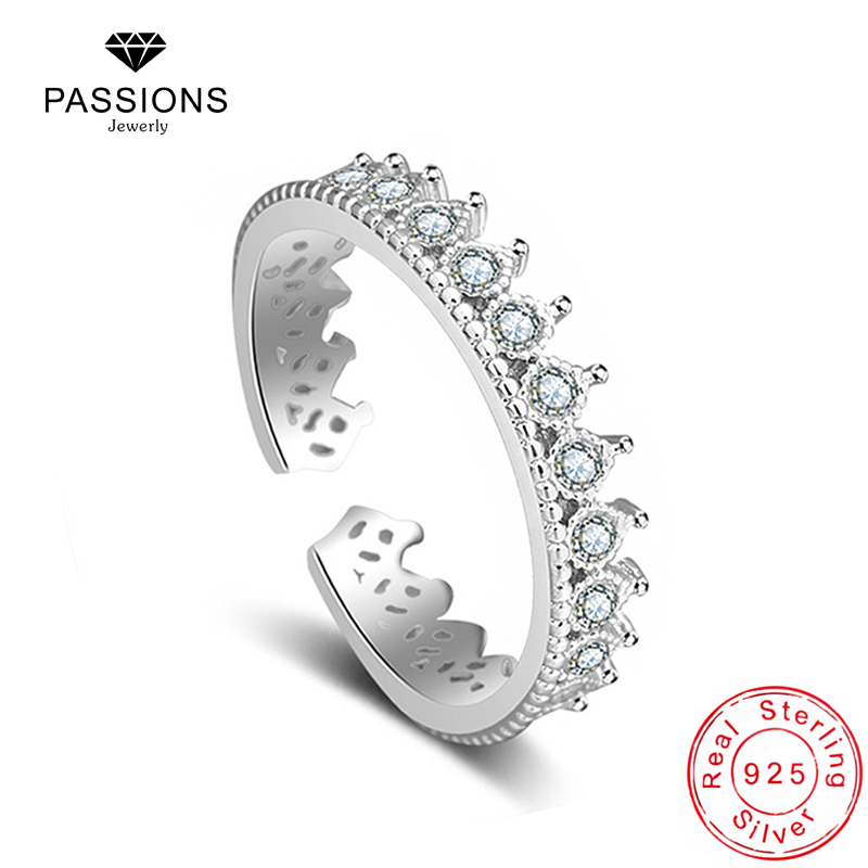 Hot Sale Trendy Romantic Crown 925 Sterling Silver Rings Adjustable Cubic Zirconia Exquisite Ring For Women Rings Jewelry Gift