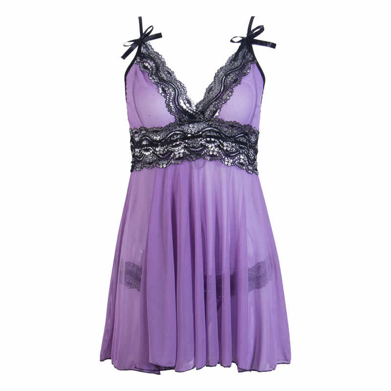 df2e80263f Sexy Babydoll Sleepwear Women Sheer Lingerie Nightgowns Lace Night Dress  with Panties Strappy V-Neck