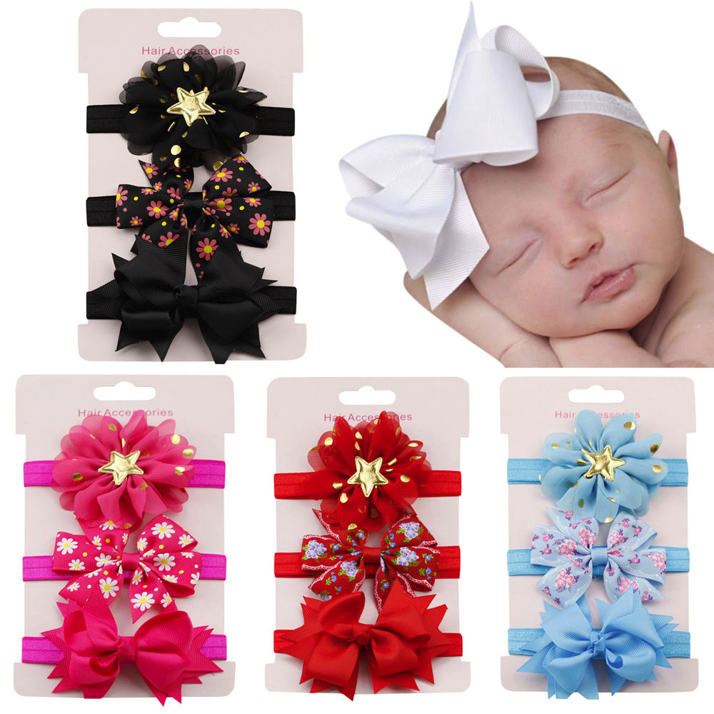 New Fashion Girls Lace Big Bow Hair Band 3Pcs Kids Elastic Floral Headband Hair Girls Baby Bowknot Hairband Set