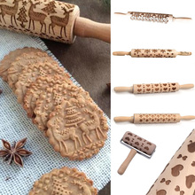 Christmas patterned Embossed Rolling Pin Engraved Embossing for Baking Wood pastry boards fondant Craft toy for children(China)