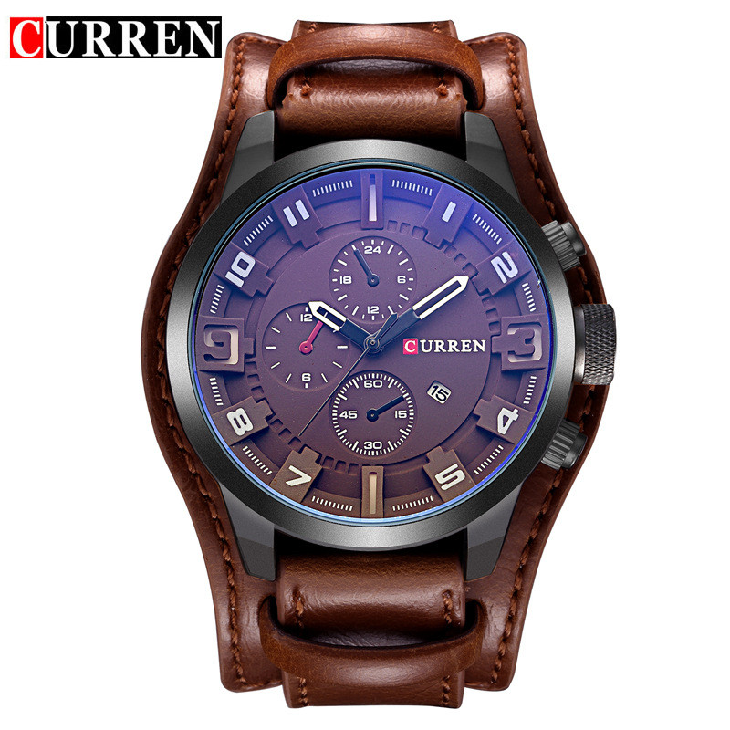 Men Military Quartz Watch Curren 8225 Mens Watches Top Brand Luxury Leather Brown Male Wristwatch Casual Sport Man Clock Relogio mens watch top luxury brand fashion hollow clock male casual sport wristwatch men pirate skull style quartz watch reloj homber
