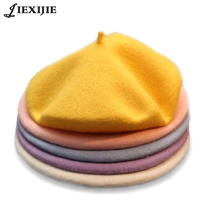 2018 Winter Cheap 100% Wool Solid Color Beret Caps Female Bonnet Women Caps Lady Painter All Matched Warm Walking Hat Wholesale(China)
