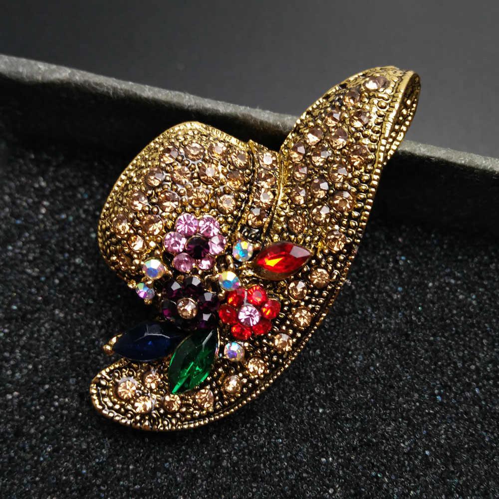 Cindy Xiang 6 Gaya untuk Memilih Vintage Berlian Imitasi Merak Topi Kupu-kupu Bros UNTUK WANITA Perhiasan Bros Ransel Lencana