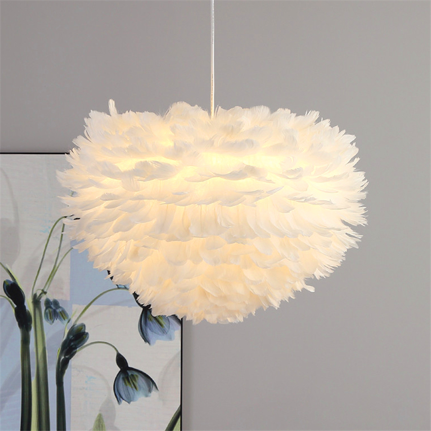 Modern Nature Goose Feather Pendant Lights Romantic Pendant Lamps Home Lighting Restaurant Bedroom Living Room Kitchen FixturesModern Nature Goose Feather Pendant Lights Romantic Pendant Lamps Home Lighting Restaurant Bedroom Living Room Kitchen Fixtures