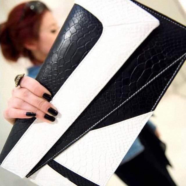 2014 women handbag fashion serpentine pattern day clutch envelope bag vintage small cross-body bags handbags women famous brands