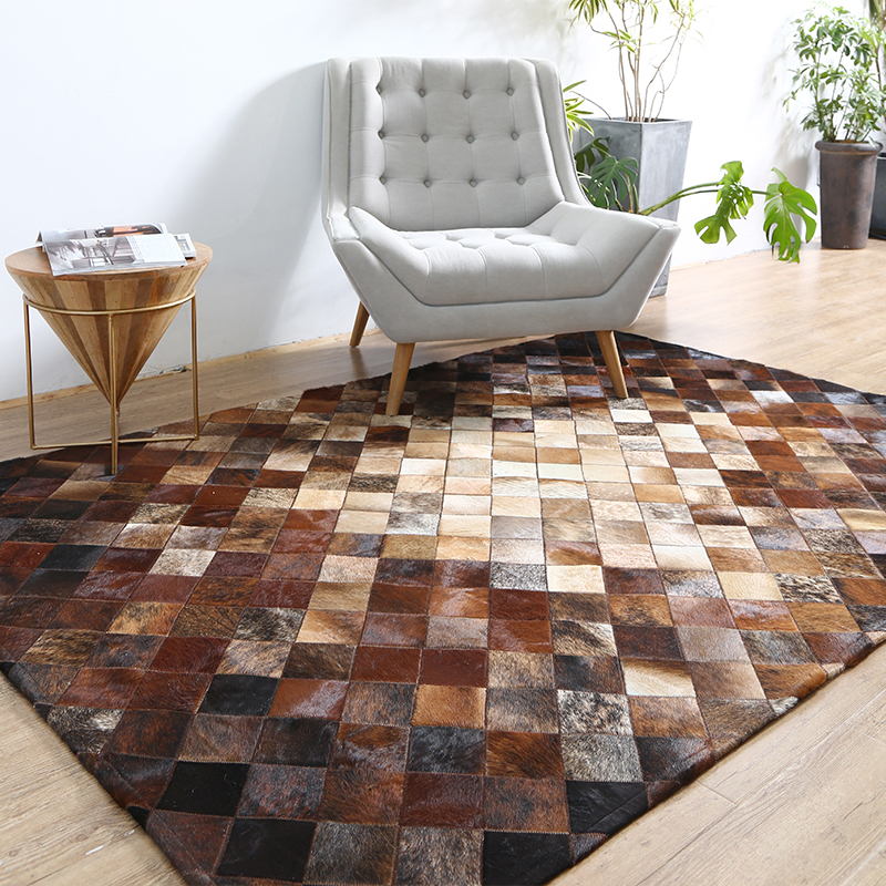 American Style Luxury Natural Brown Color Cowhide Patchwork Rug  , Genuine Calfskin Fur Chequer Carpet  For Living Room