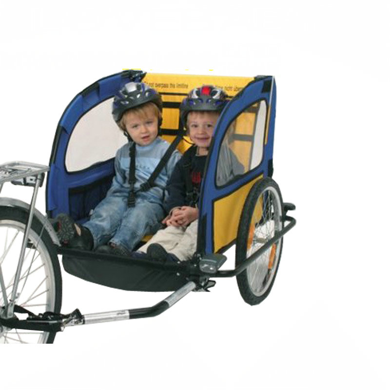 2 in 1 Twins Bicycle Trailer, Aluminum Alloy Frame kids Bike Trailer with Rain Cover, Foldable Kids Wagon, 20inch Baby Trailer