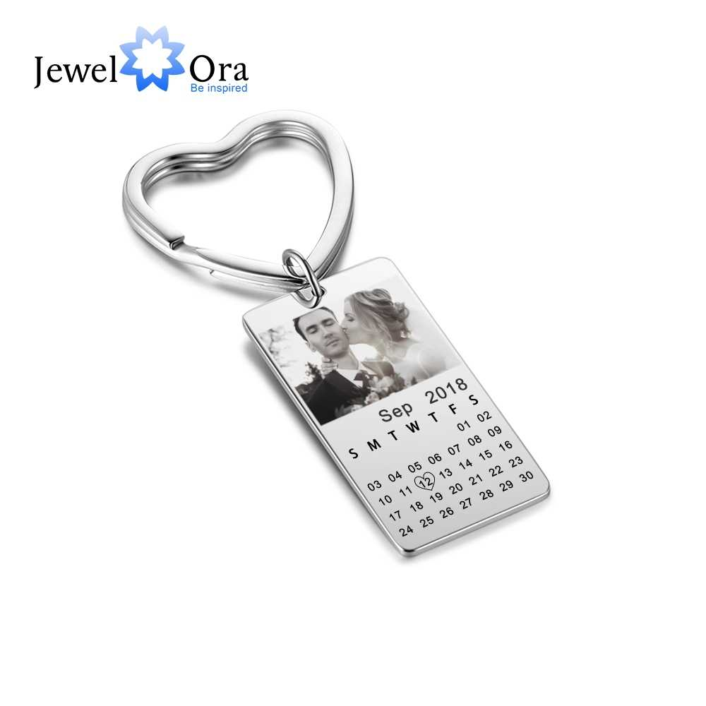 Personalized Custom Photo & Date Key Chains Fashion Anniversary Jewelry Best Lovers' Gift (JewelOra AS101764)