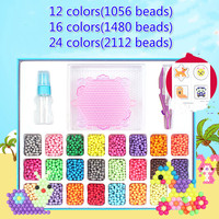 12/16/24 Colors Water Spray Magic Pixels Beads DIY Kit 3D Puzzle Game Fun Handmaking Cartoon Educational Toys for Children Gift
