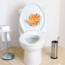 Cats Toilet Stickers Home Decor Hole View 3D Wall Sticker Bathroom Pet Animals Decals PVC Mural Art Poster