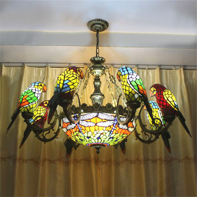 Parrots Dragonfly Led Kitchen Dining Bar Pendant Lights Artistic Clical Stained Gl Suspension Hanging Lamp Light Fixture