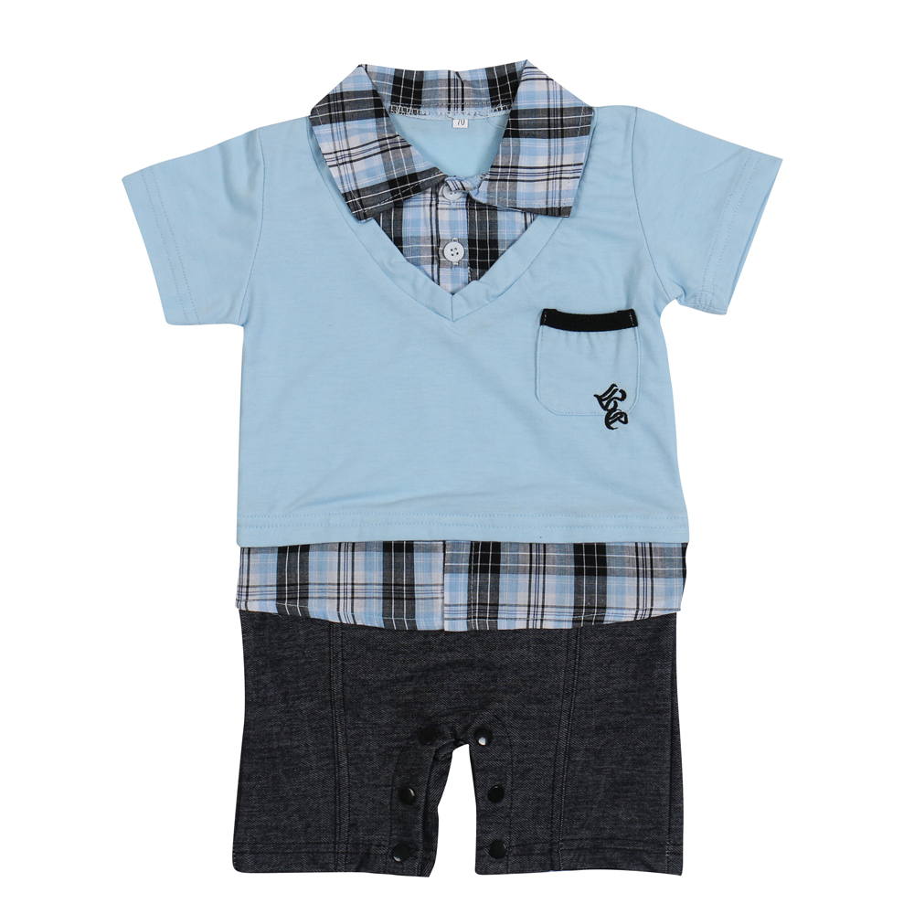 2017Hot-selling-Baby-romperBoys-clothing-set-baby-bodysuits-Polo-style-short-sleeved-Romper-Grey-and-Blue-colors-1