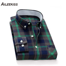 AILEEKISS 100%Cotton Plaid Men Shirt New Autumn Spring Man Shirts Homme Streetwear Long Sleeve Mens Casual Vacation XT824