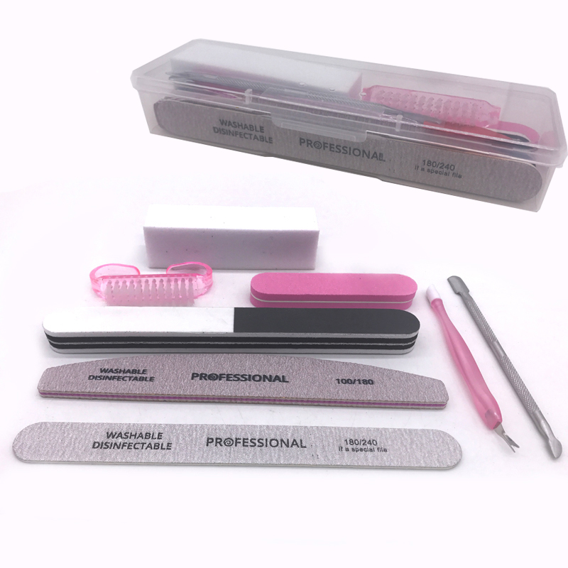 Beauty 8pcs/set Nail Kit Art Sand Files Buffer Sponge Block Brush Cuticle Pusher Gel Polish Set Acrylic Manicure Tools With Box