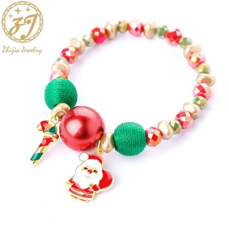 Snowflake Bracelet Socks Bead-Stone Christmas-Gifts Daughter Elk for Bell Zhijia