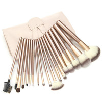 VANDER Champagne18pcs Set Makeup Brushing Brush Champagne Soft Synthetic Cosmetic Foundation Powder Blush Eyeliner Brushes