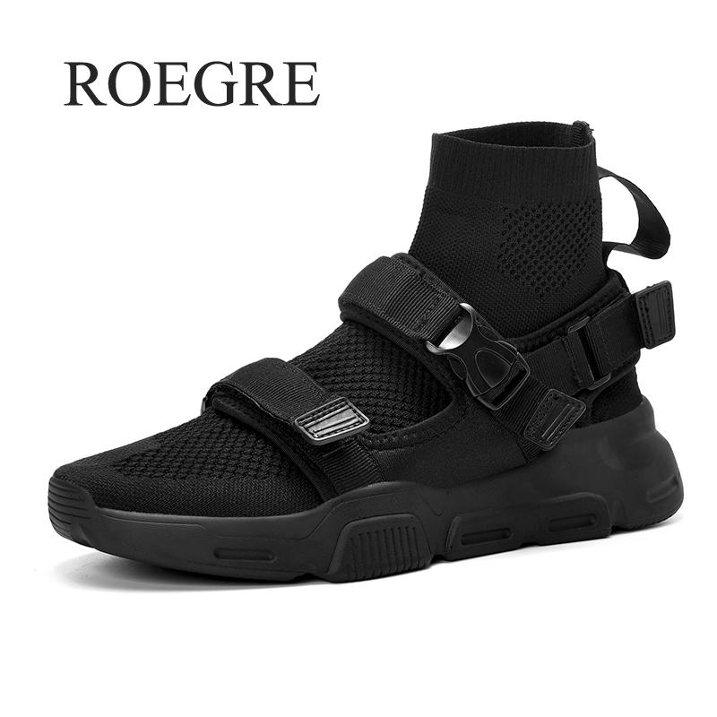 Sneakers High Top Sneakers Men Knit Upper Breathable Socks 2019 New Fashion Black White Men Trainers Casual Man Shoes Footwear