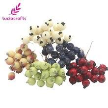 Lucia artesanato 50 pçs/lote mini frutas falsas bagas artificial romã cereja estame casamento casa natal decorativo a0601