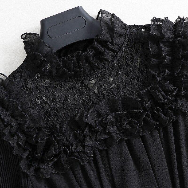 Manches Style Nouvelle Mode De Robes Dames Robe Soie Mousseline 2017 Lanterne Patchwork Plein Vintage Automne Parti Femmes Noir Piste Conception Tnx0zndYq