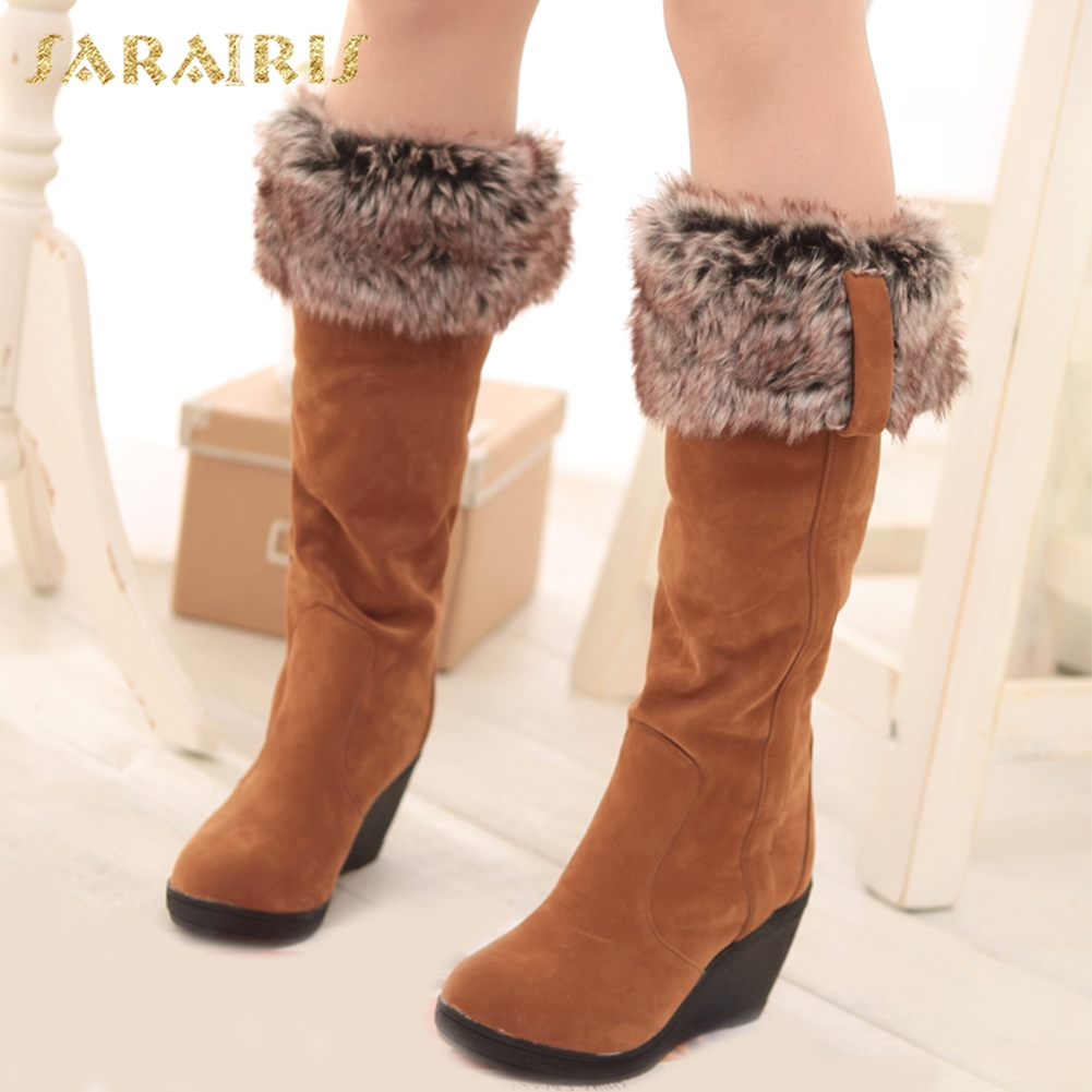 SARAIRIS 2018 large sizes 33-43 Wedge high Heels cold winter Women Shoes woman snow Boots Woman Casual Warm boots female Shoes