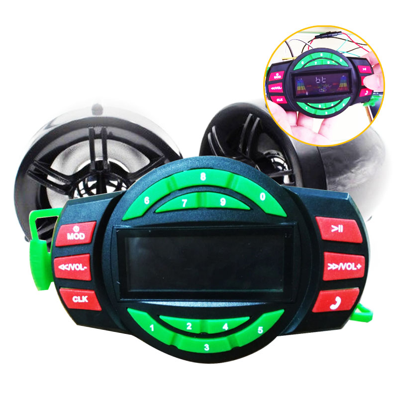 Motorcycle Mutilmedia MP3 Player Speakers Audio FM Radio Wireless bluetooth with USB SD Slot Answer the phone Hand up the phone