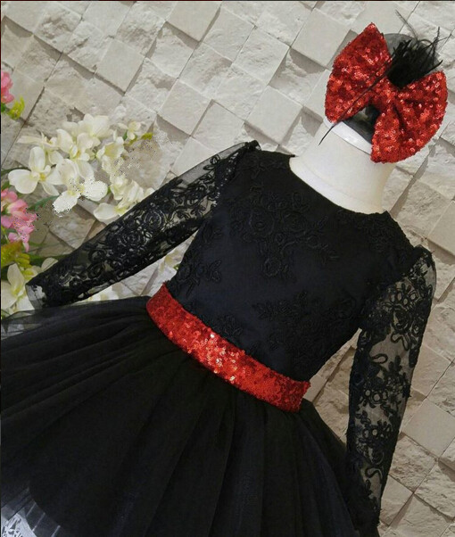 Black open back flower girl dress sheer lace with red sequin bow frocks for birthday prom party open back maxi lace prom dress