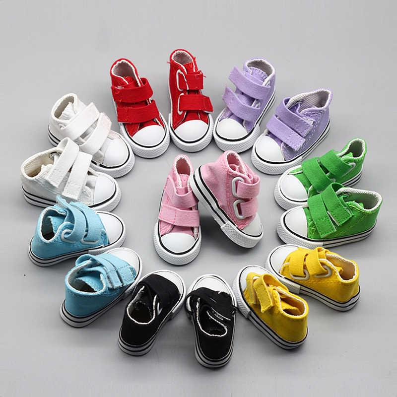Одна пара 7,5 см кроссовки обувь для BJD кукла черный белый красный синий желтый розовый парусиновые туфли кукольные аксессуары