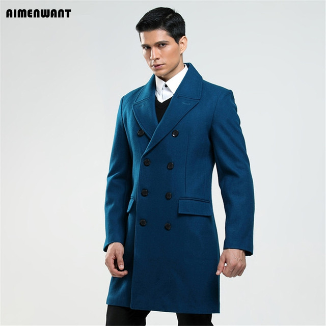 AIMENWANT Custom made men's British fashion S-6XL wool coat Russian man double breasted lake blue trench free shipping Cloth