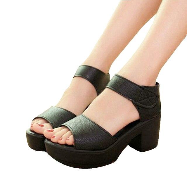 06445dbc5c99 Free shipping women Sandals 2018 summer high-heeled shoes thick heel open toe  platform black women s shoes platform
