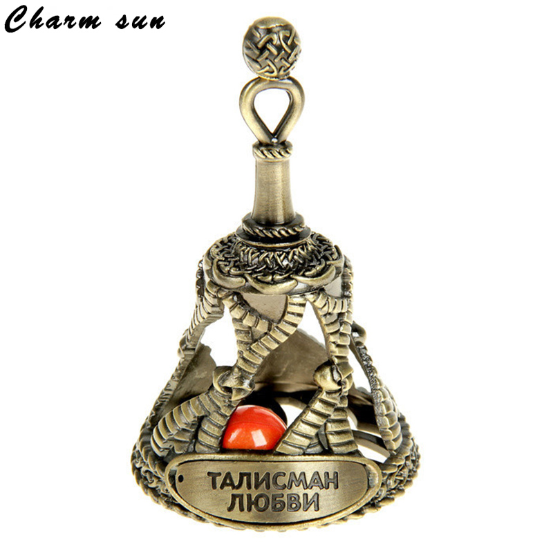Bell And Stele Amulet Talisman Of Love Decorative Christmas Gift Vintage Home Decoration Unique Metal Relief Red Beads Bell