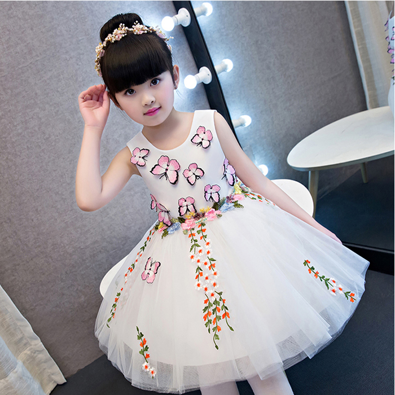 2018New Kids Babies Birthday Wedding Party Ball Gown Dress Girls Children Performance Pageant Embroidery Butterfly Pattern Dress graceful butterfly pattern high waist dress
