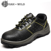 Steel Toe Work Shoes Mens Puncture Proof Ankle Boots Non slip Split Leather Breathable Safety Shoes Men Labor Insurance Boots