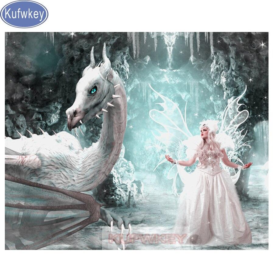 Kufwkey full diamond Embroidery dragon elves Mosaic diamond 5d diy square Round Diamond Painting crystal fantasy cartoon gift in Diamond Painting Cross Stitch from Home Garden