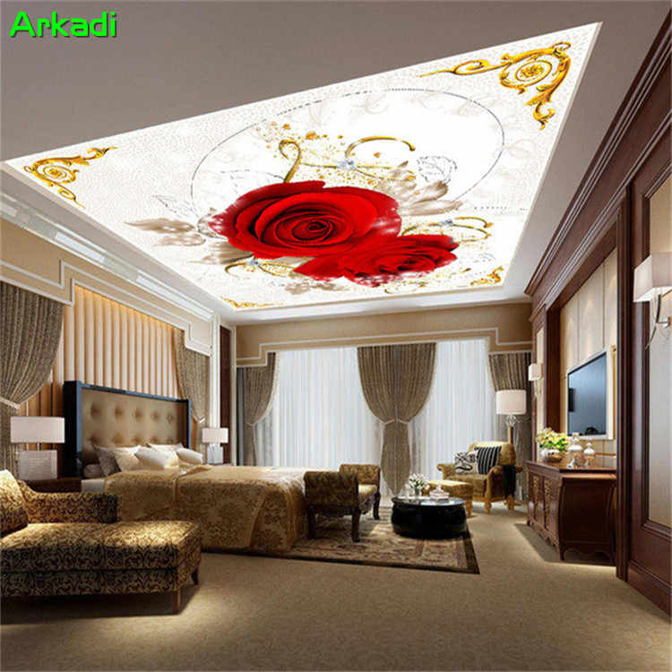 Red Love Rose Roof Mural Background Wall Flower Children Room Hotel Living Room Space Extension Wallpaper Home Decoration Mural Wallpapers Aliexpress