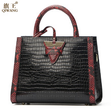 Qiwang Authentic Women Bag 100% Genuine Leather Women Crocodile Handbag Triangle Tote Women Bag Large Brand Bag Sexy jooz brand women 100